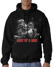 Velocitee Mens Hoodie Shut Up & Ride Chopper Hog Biker A15402