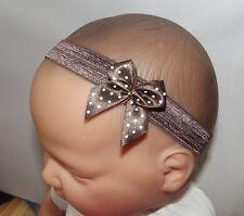 Fille bébé/reborn doll Dainty Brown Polka Dot Bow Bandeau