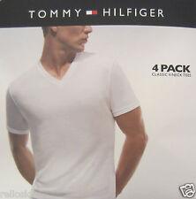 4 TOMMY HILFIGER MENS 3XL 4XL 5XL 6XL COTTON WHITE V NECK T SHIRTS UNDERSHIRTS