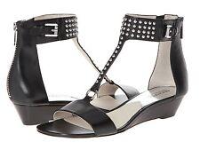 NEW MSRP $150 - MICHAEL KORS Celena Wedge Sandals w/ Mini Studs, BLACK, Leather
