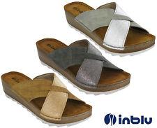 INBLU Ciabatte zeppa sandali imbottita in pelle INSOCK Cross Cinturino Punta Aperta Uk 2.5-8