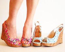Slingback Platform Wedge Sandal Floral Print Pink Green 5 6 6.5 7 7.5 8 8.5 9 10
