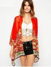 bolero largo chal bufanda pashmina mujer colorido naranja flores 1145