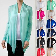 Long Sleeve Cardigan Fly Away Open Draped Regular Plus 20 Colors S ~ 3XL Yoain