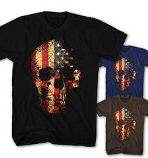 ★Herren T-shirt USA Vintage Grunge Totenkopf Flagge Rock Skull Head Neu SG9115★