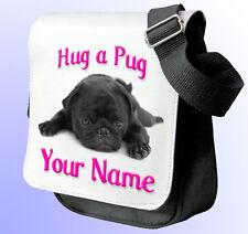 HUG A BLACK PUG PERSONALISED LADIES/GIRLS SHOULDER / HAND BAG - ** NAMED GIFT **