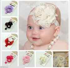 Triple Rosette Flower Headband, w/ pearls, rhinestones, French netting 0-18 mos