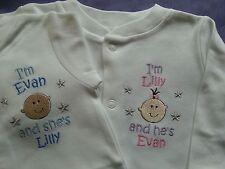 2  Personalised Twins Sleepsuits /  Babygros / Babygrows boy or girl versions