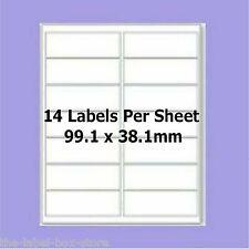 Self Adhesive A4 Labels ~14 Per A4 Sheet ~ L7163 Compatible ~ 99.1mm x 38.1mm