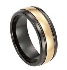 Mens Black & Gold Tungsten Carbide 8mm Comfort Fit Wedding Band Ring SR112