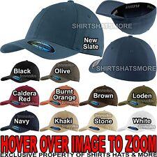 Flexfit Garment Washed Twill FITTED CAP Sport Hat Baseball S/M, L/XL NEW!