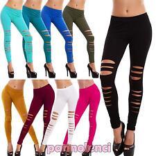 Leggings donna pantaloni elasticizzati RIPPED tagli skinny sexy nuovi AS-839