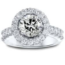 Women's 2 1/8ct Halo Round Vintage Diamond Engagement Ring 14K White Gold