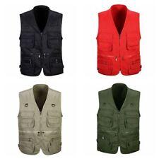 Mens Gilet Jacket Tool Vest Sleeveless Multiple Pockets Waistcoat Work Wear Coat