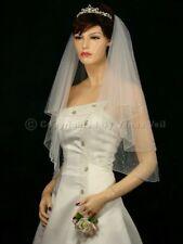 Handmade 2 Tiers Bridal Wedding Veil White / Ivory Elbow Crystal Beaded Edge