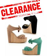 CLEARANCE Women Wedge Heels Sandals Wooden Look Platform Suede UK