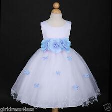 US Seller New White/Light Blue Wedding Party Butterfly Petals Flower Girl Dress