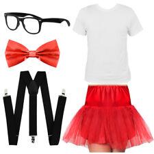 ADULTS GEEK COSTUME NERD T-SHIRT TUTU TIE BRACES GLASSES SET SCHOOL FANCY DRESS
