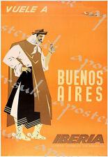 Vintage IBERIA líneas aéreas Español Buenos Aires Poster A3/A4 impresión