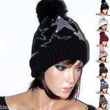 Cappello Donna invernale PON PON stelle punto luce Nero e TANTI COLORI D0442