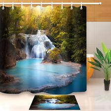 "Waterfall Flowing Forest Bathroom Waterproof Fabric Shower Curtain Hooks 60/72"""