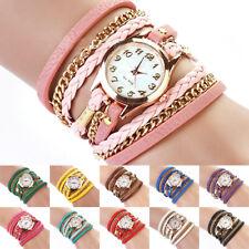 Women's Chic Candy Vintage Weave Wrap Rivet Leather Bracelet Wrist Watch Lot US