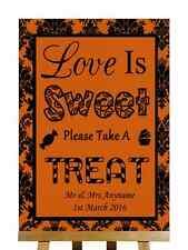 Burnt Orange Black Love Is Sweet Candy Bar Cart Buffet Personalised Wedding Sign