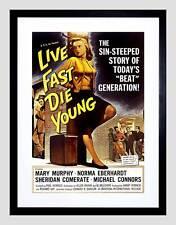 VINTAGE MOVIE FILM LIVE FAST DIE YOUNG FILM BEAT GENERATION ART PRINT B12X11682