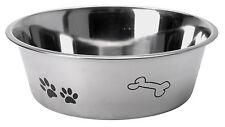 ACCIAIO INOX DOG Pet Feeding Acqua Ciotola attraente PAW & Bone Design 3 dimensioni