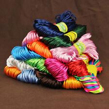 2mm 20M Rattail Satin Silk Cord Nylon Macrame Beading Kumihimo String Eyeful New
