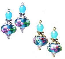 Earrings, Aqua blue, pink lampwork, crystal, choose gold or silver and fittings
