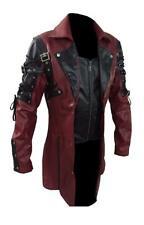 Men's Steampunk Gothic Leather Trench Coat Jacket Goth Punk Coat