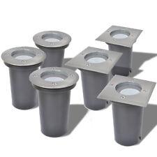 vidaXL 3 Focos LED Empotrables de Suelo Exteriores Redondos/Cuadrados Plateados