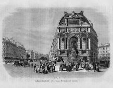 Stampa antica Old Print PARIGI Fontana Saint-Michel Saint-Andrè-des-Arts 1861