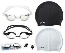 Swimming Goggles Mirror Anti Fog Adjustable Strap + Silicone Swim Flexible Caps