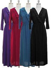 NWT Women 3/4 Sleeves Surplice Ruffle Neck Elastic Waist Knit Dress Jon & Anna