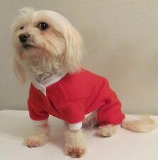 Red Fleece Pajamas PJ's Dog Puppy Teacup Pet Apparel Clothes XXXS - Large