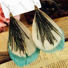 BIG teal aqua BOHO FEATHER EARRINGS peacock bird BEIGE/BLUE-GREEN feathers