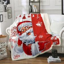 Father Christmas Blanket Xmas Santa Warm Soft Sofa Bedding Chair Throw Red Kids