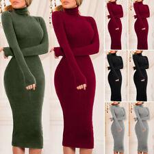 Women Winter Turtleneck Sweater Dress Long Dress Slim Fitness Jumper Party Dress