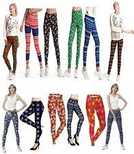 Womens Christmas Legging Xmas Santa High Waist Stretchy Trouser Pants Sport Yoga
