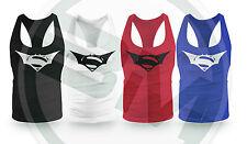 Batman Superman Muscle Vest Bodybuilding Gym Stringer Racerback Vest Low Scoop