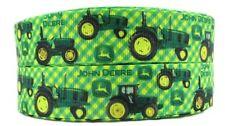 "John Deere Tractor 1"" Wide Repeat Ribbon Sold in Yard Lots - USA SELLER"