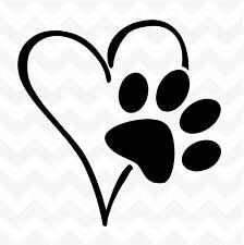 Heart Dog Paw vinyl sticker decal pet love suit wall car floor kennel
