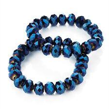 Blue AB Glass Bead Elastic Bracelets 2 pc Set