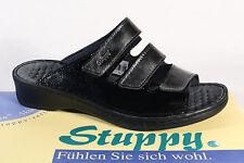Stuppy Damen Pantolette Pantoletten Sandale Sandaletten Leder schwarz/grau Neu!