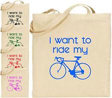 Voglio RIDE LA BICI Grande Cotone Tote Shopping Bag BARZELLETTA Divertente PAPA 'MAMMA REGALO
