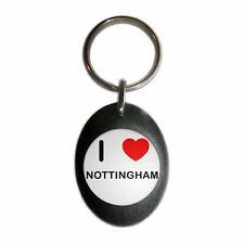 I Love Nottingham - Plastic Oval Key Ring Colour Choice New