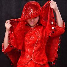 Chinese Red Veil Voile Head Cover Wedding Bridal Handkerchief Mantilla Vintage
