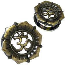 Pair Stainless Steel Flesh Ear Tunnels Antique Brass Om Lotus Flower Gauges Plug
